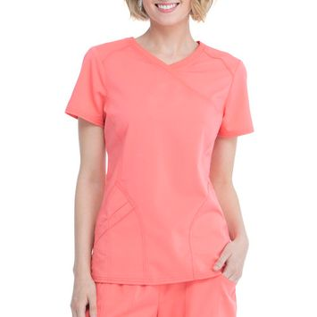 Scrubstar - Scrubstar Women's Premium Rayon Mock Wrap Scrub Top [name: actual_color value: actual_color-coralrush]