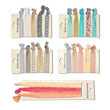 No Crease Ribbon Hair Ties - 23 Pieces Lace Hairband Ponytail Holders Natural Curly Hair Ties For Women, Girls, Adults Including Two Lengths Hair Ties