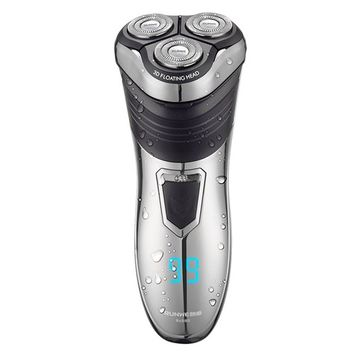 RUNWE Rechargable Electric Shaver with Anti-clip Cut Blade System,Men's Razor Beard Trimmer,Waterproof Shaving Machine Wet and Dry Use Rotary Cordless Mens Groom Kit Sideburn Trimmer