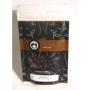 Mahamosa Crannyberry Tea 2 oz - Loose Leaf Flavored Black Tea Blend (with black tea, freeze-dried raspberry pieces and cranberry slices, flavoring)