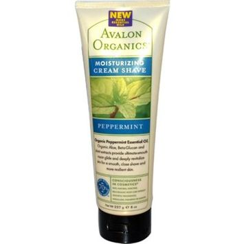 Avalon Organics Moisturizing Cream Shave, Revitalizing Peppermint, 8 Fluid Ounce