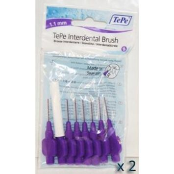 TePe Interdental Brushes 1.1mm Purple - 2 Packets of 8 (16 Brushes)