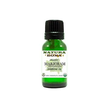 Natura Bona Organic Marjoram Essential Oil (Thymus Mastichina) - 100% Pure Therapeutic Grade - Best for Aromatherapy, Antiseptic, Sleep, Muscle Soreness, Headaches & More; 10 ml Eurodropper
