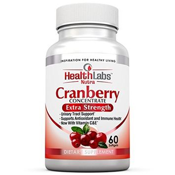 Health Labs Nutra 50:1 Triple-Strength Cranberry Concentrate with Vitamins C & E – Promotes Urinary Tract and Immune Support (60 Fast-Acting Softgels) 30 Day Supply