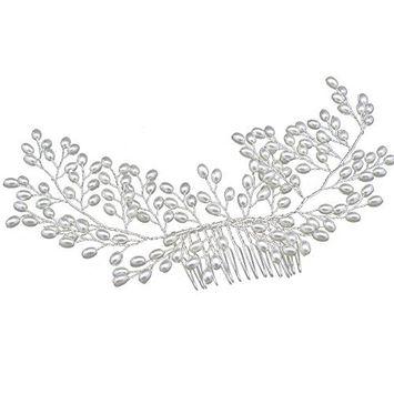 Okdeals Bridal Handmade Pearl Hair Comb Hairpin Wedding Prom Hair Clip Headband