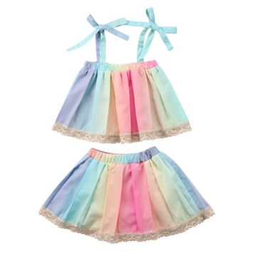 Little Girl Rainbow Strap Top and Skirt with Lace Trim 2 pcs Set (90/3T)