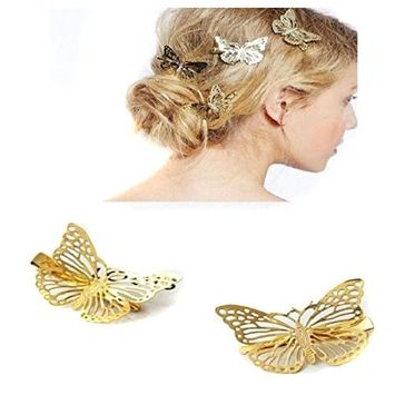 Simple Hair Clip Clamps for Women, 2PCS Minimalist Dainty Butterfly Hair Barrettes, Hollow Geometric Metal Hairpin for Girls Thick Hair Styling (G