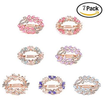Okdeals Hair Clip Clamps for Women, 7 PCS Crystal Flower Butterfly Barrettes, Hollow Hair Clips Rhinestone Hair Pins Brooch for Girls Thick Hair Styling