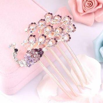 Peacock Hair Pins Comb Bridal Wedding Accessories Rhinestone Crystals New