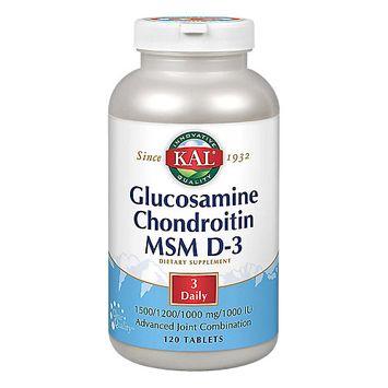 Kal Glucosamine Chondroitin MSM D-3 120 Tablets