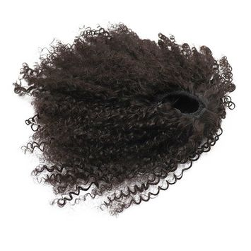 Afro Puff Synthetic Kinky Curly Drawstring Ponytails Extensions for African American3C 4A Wrap Pony Tail Kinky Curly Hairpieces Afro Kinky Curly Ponytail Top Closure with Combs (#2)