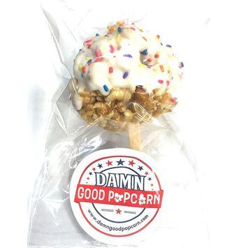 6 Gourmet Birthday Cake Flavored Popcorn Balls with White Chocolate Vanilla Coating