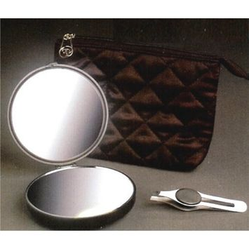 Rialto Lighted 10X/1X Compact with Tweezer and Pouch in Black