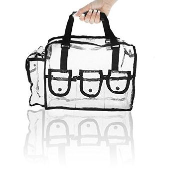 Cosmetic Clear Makeup Bag Organizer Case with Shoulder Strap Snap Pockets and Rubber Handle. Travel Bag Purse