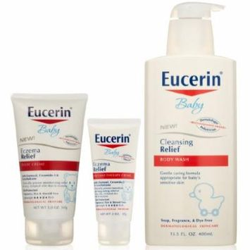 Eucerin Baby Eczema Relief Body Creme, 5 Ounce PLUS Instant Therapy Creme, 2 Ounce AND Cleansing Relief Body Wash, 13.5 Ounce