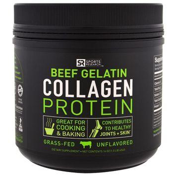 Sports Research, Beef Gelatin Collagen Protein, Unflavored, 16 oz (454 g)