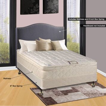 Comfort Bedding of USA Continental Sleep Pillow Top Orthopedic Assembled 9' Mattress and Box Spring with Frame, Full