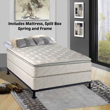 Comfort Bedding Continental Matress Mattress, 10-Inch Fully Assembled Pillow Top Orthopedic Mattress and Box Spring with Frame, California King