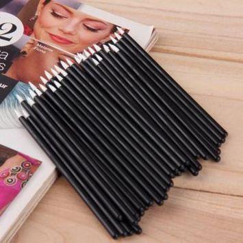 50Pcs Disposable Eyeliner Pencils Brushes Wands Applicator Cosmetic Makeup Tool
