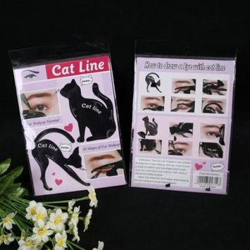 Cat Eye Tail Eyeliner Stencil Template Shaping Tools Eyebrows Template Card