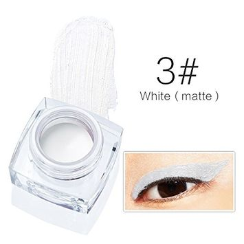 Redcolourful Charming Eyeliners Paste Waterproof Eyeliners Paste Shimmer and Matte Eyeliner for Choose - 3# White (Matte)