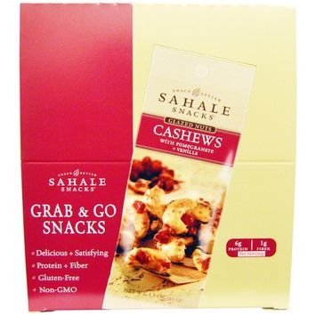 Sahale Snacks, Glazed Nuts, Cashews with Pomegranate + Vanilla, 9 Packs, 1.5 oz (42.5 g) Each [Flavor : Cashew with Pomegranate + Vanilla]
