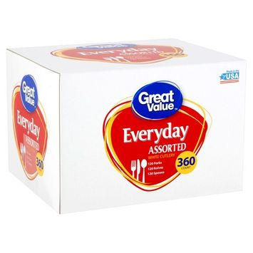 Great Value Everyday Assorted White Cutlery, 360 count