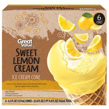 Great Value Sweet Lemon Cream Ice Cream Cones, 6 pack