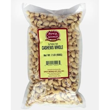 Spicy World Cashews Whole, 2-Pound Pouches (Pack of 2)