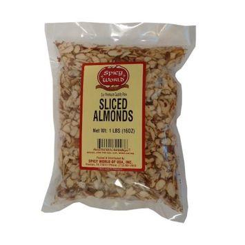Spicy World Natural Raw Sliced Almonds - 1 Pound Bag - Fresh!