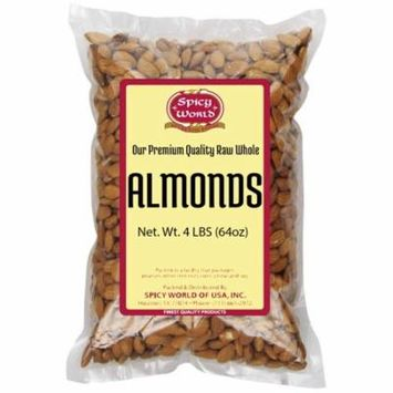 Almonds Whole (Natural and Raw), 4 Pound Spicy World