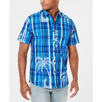 Men's Plaid Palm Shirt, Created for Macy's