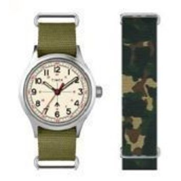 Timex - TIMEX TWG017800 TODD SNYDER MILITARY SILVER OLIVE WATCH