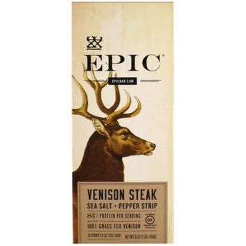 EPIC Venison Steak Sea Salt and Pepper 20 Count Box of .8 oz Strips