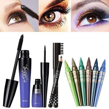 Alonea Make Up Set Waterproof Mascara + Liquid Eyeliner + Eyebrow Pencil + 6Color Eye Shadow Pen