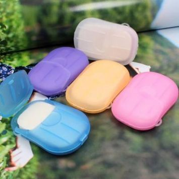1PCS portable hand washing small soap tablets are random in color, 20 Pcs Paper Soap Outdoor Travel Bath Soap Tablets Portable Hand-washing