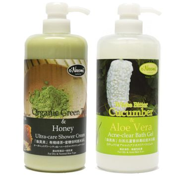 O'naomi oNaomi - Bath Set: Organic Green Tea & Honey Ultra-Care Shower Cream 800ml + White Bitter Cucumber & Aloe Vera Acne-Clear Bath Gel 2 pcs