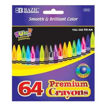 Bazic 64 Ct. Premium Quality Color Crayon Case Pack 48