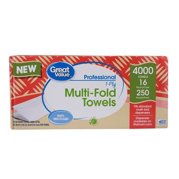 Great Value Professional Multifold Paper Towels, 16 Packs of 250 Sheets, 4,000 sheets