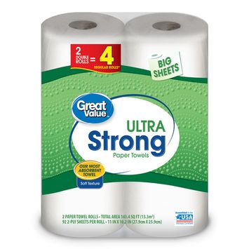Great Value Ultra Strong Paper Towels, Big Sheets, 2 Double Rolls