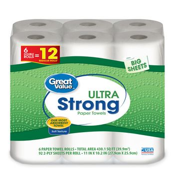 Great Value Ultra Strong Paper Towels, Big Sheets, 6 Double Rolls
