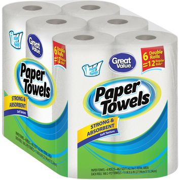 Great Value Ultra Strong Paper Towels, Split Sheets, 6 Double Rolls