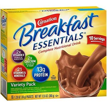 Carnation Breakfast Essentials Powder Drink Mix Variety Pack, 10 Count Box of 1.26 Ounce Packets (Pack of 6)