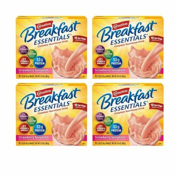 Carnation Breakfast Essentials Powder Drink Mix, Strawberry Sensation, 10 Count Box of 1.26 oz Packets, 4 Pack (Strawberry Sensation, 40 Count)