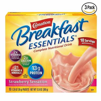 Carnation Breakfast Essentials Powder Drink Mix, Strawberry Sensation, 1.26 Ounce Packets, 30 Count