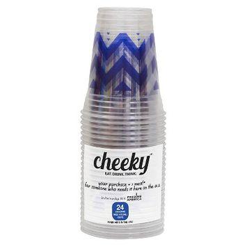 Solo Cup Company Cheeky Home Blue Chevron Stripe Disposable Clear Plastic Cups 16 oz