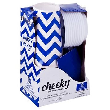 Solo Cup Company Cheeky Home Blue Chevron Stripe Disposable Paper Coffee Cups 16 oz 30