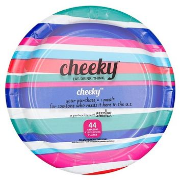Solo Cup Company Cheeky Home Pink Scalloped Stripe Disposable Paper Plates 9 in 44 ct
