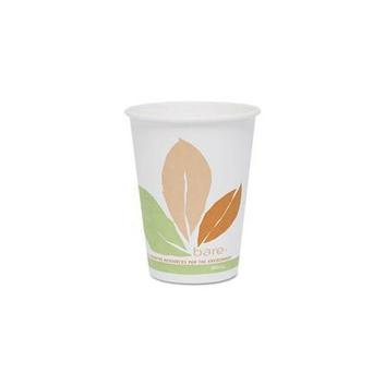 SOLO Cup Company OF12PL-J7234 Bare PLA Hot Cups- White w/Leaf Design- 12 oz. - 300/Carton