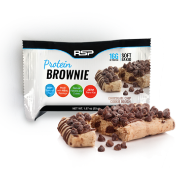 RSP Nutrition Protein Brownie On-The-Go Snack, Whey Protein, Gluten Free, Healthy Snack, Chocolate Chip Cookie Dough, 12 Pk